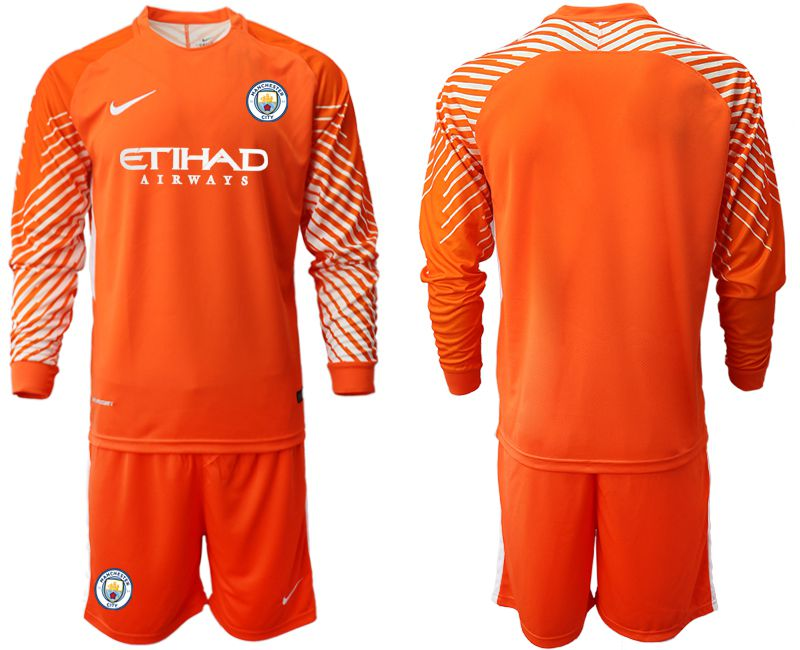 Men 2018-2019 club Manchester City FC orange goalkeeper long sleeve Soccer Jerseys