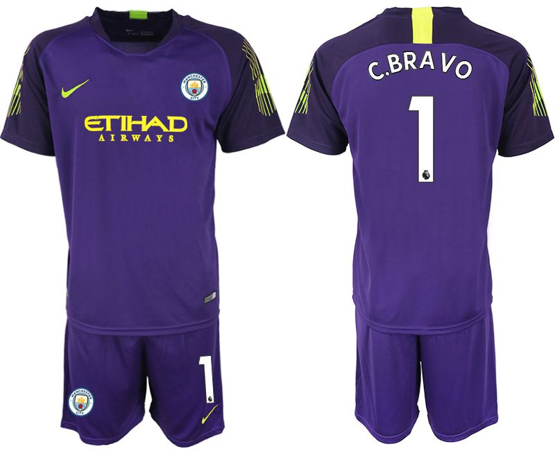 Men 2018-2019 club Manchester City FC purple goalkeeper 1 Soccer Jerseys