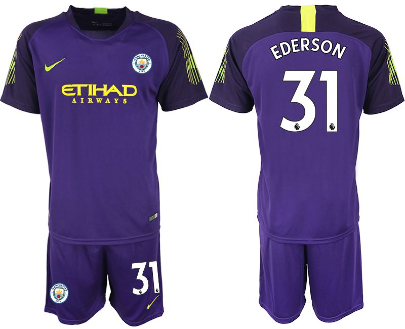 Men 2018-2019 club Manchester City FC purple goalkeeper 31 Soccer Jerseys