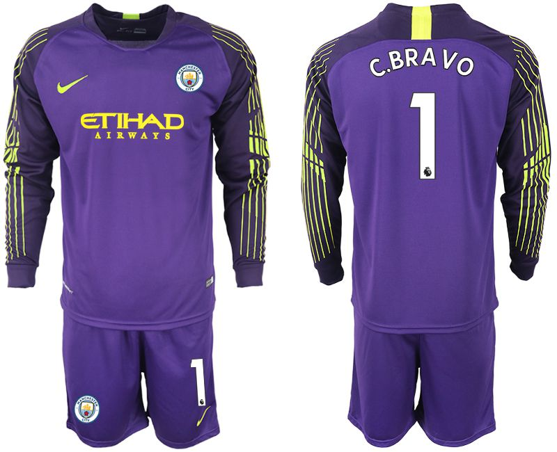 Men 2018-2019 club Manchester City FC purple goalkeeper long sleeve 1 Soccer Jerseys