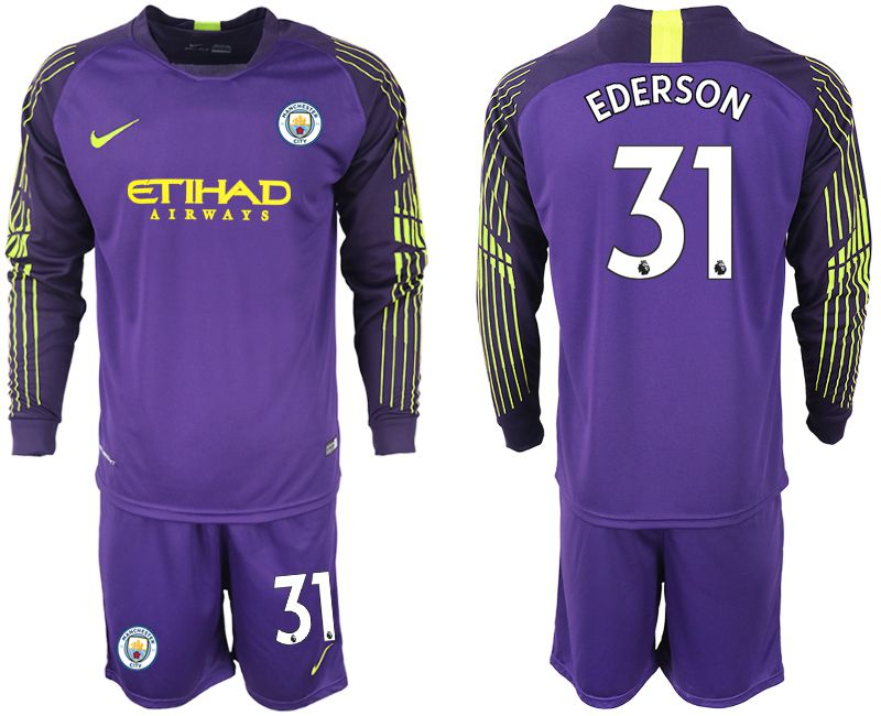 Men 2018-2019 club Manchester City FC purple goalkeeper long sleeve 31 Soccer Jerseys