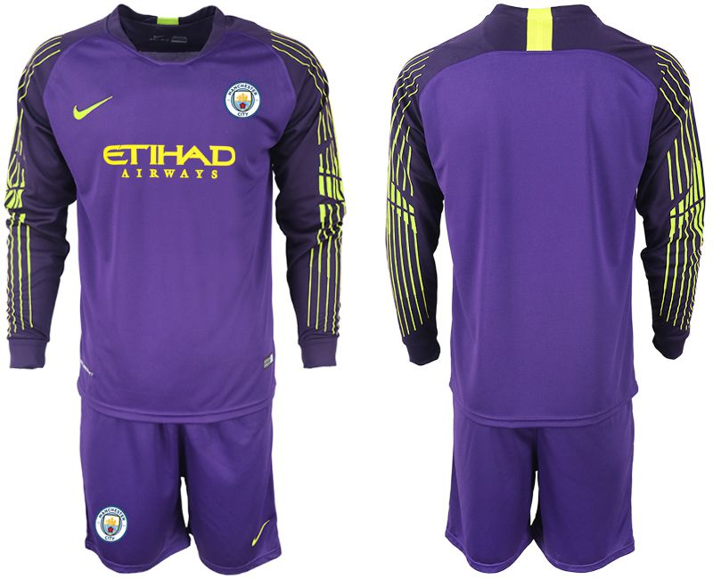 Men 2018-2019 club Manchester City FC purple goalkeeper long sleeve Soccer Jerseys