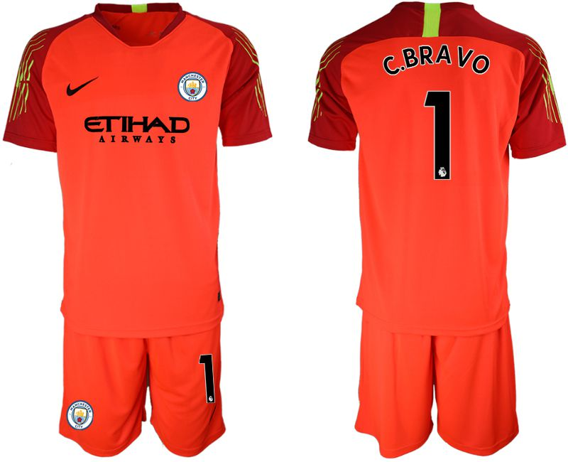 Men 2018-2019 club Manchester City FC red goalkeeper 1 Soccer Jerseys