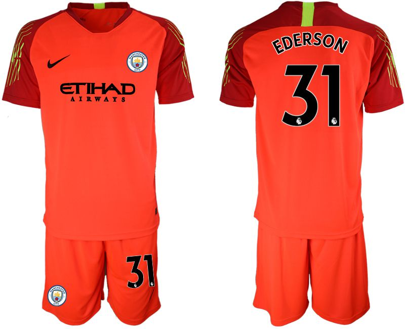 Men 2018-2019 club Manchester City FC red goalkeeper 31 Soccer Jerseys