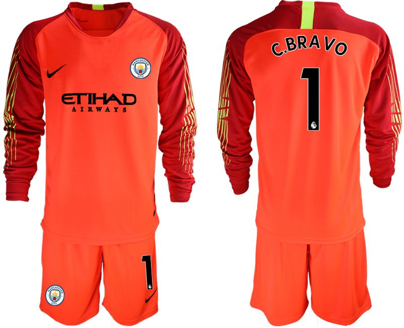Men 2018-2019 club Manchester City FC red goalkeeper long sleeve 1 Soccer Jerseys