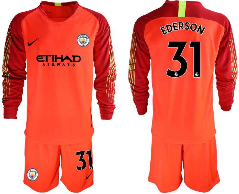 Men 2018-2019 club Manchester City FC red goalkeeper long sleeve 31 Soccer Jerseys