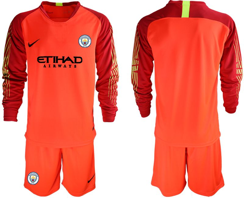Men 2018-2019 club Manchester City FC red goalkeeper long sleeve Soccer Jerseys