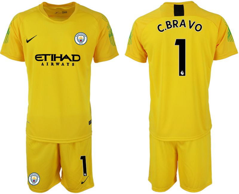 Men 2018-2019 club Manchester City FC yellow goalkeeper 1 Soccer Jerseys