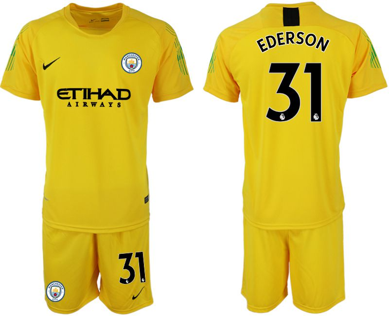 Men 2018-2019 club Manchester City FC yellow goalkeeper 31 Soccer Jerseys