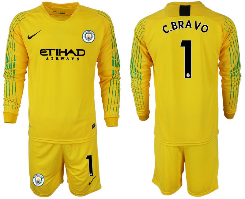Men 2018-2019 club Manchester City FC yellow goalkeeper long sleeve 1 Soccer Jerseys