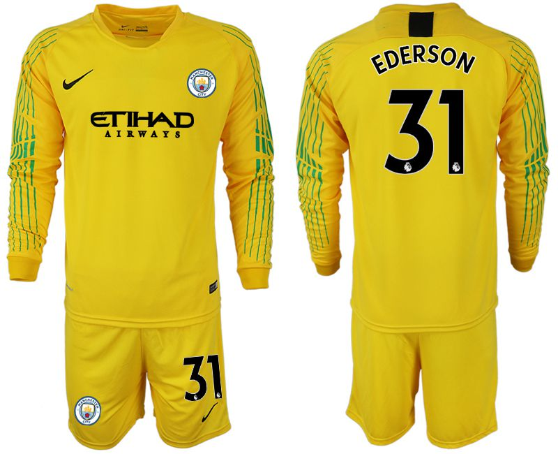 Men 2018-2019 club Manchester City FC yellow goalkeeper long sleeve 31 Soccer Jerseys