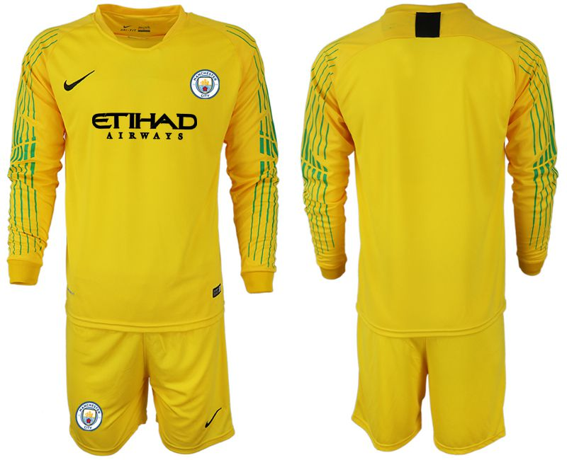Men 2018-2019 club Manchester City FC yellow goalkeeper long sleeve Soccer Jerseys