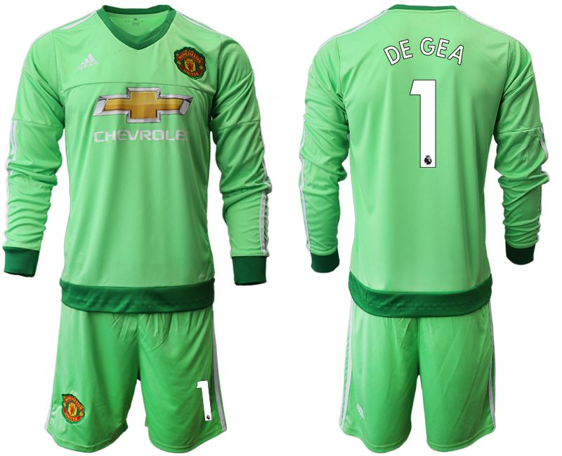 Men 2018-2019 club Manchester United green long sleeve goalkeeper 1 Soccer Jerseys