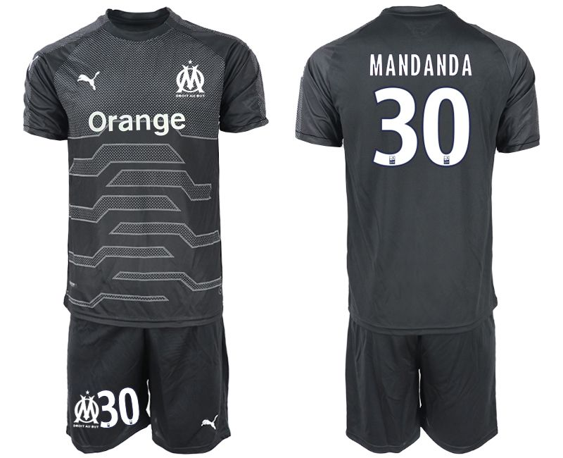 Men 2018-2019 club Olympique de Marseille black goalkeeper 30 Soccer Jerseys