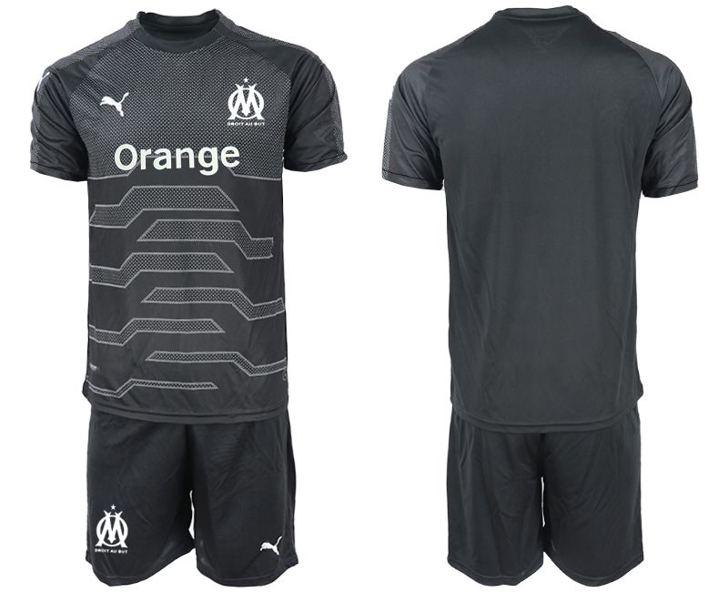 Men 2018-2019 club Olympique de Marseille black goalkeeper Soccer Jerseys