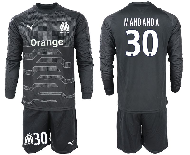 Men 2018-2019 club Olympique de Marseille black long sleeve goalkeeper 30 Soccer Jerseys