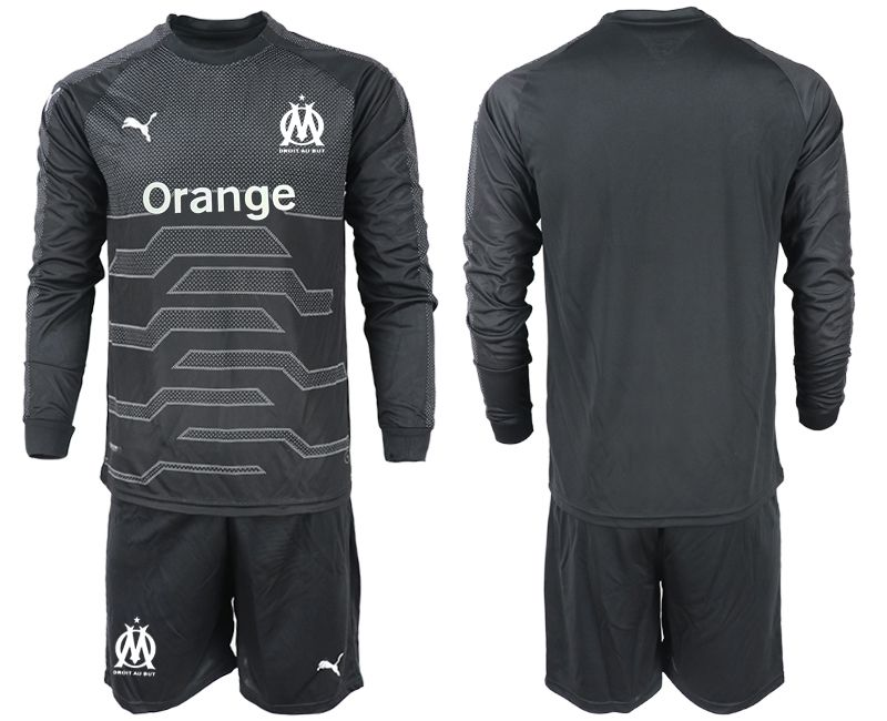Men 2018-2019 club Olympique de Marseille black long sleeve goalkeeper Soccer Jerseys