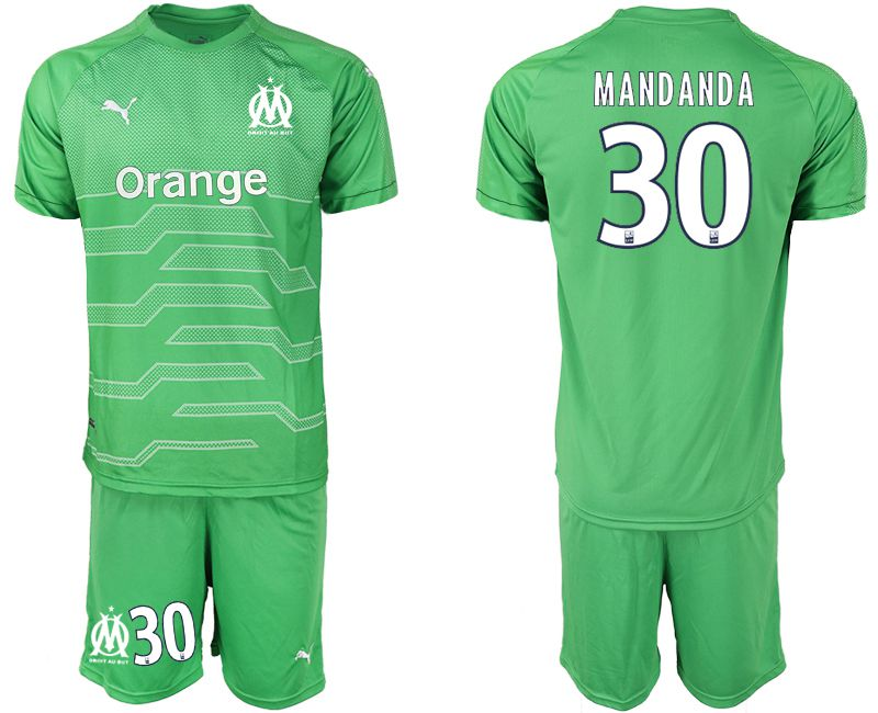 Men 2018-2019 club Olympique de Marseille green goalkeeper 30 Soccer Jerseys