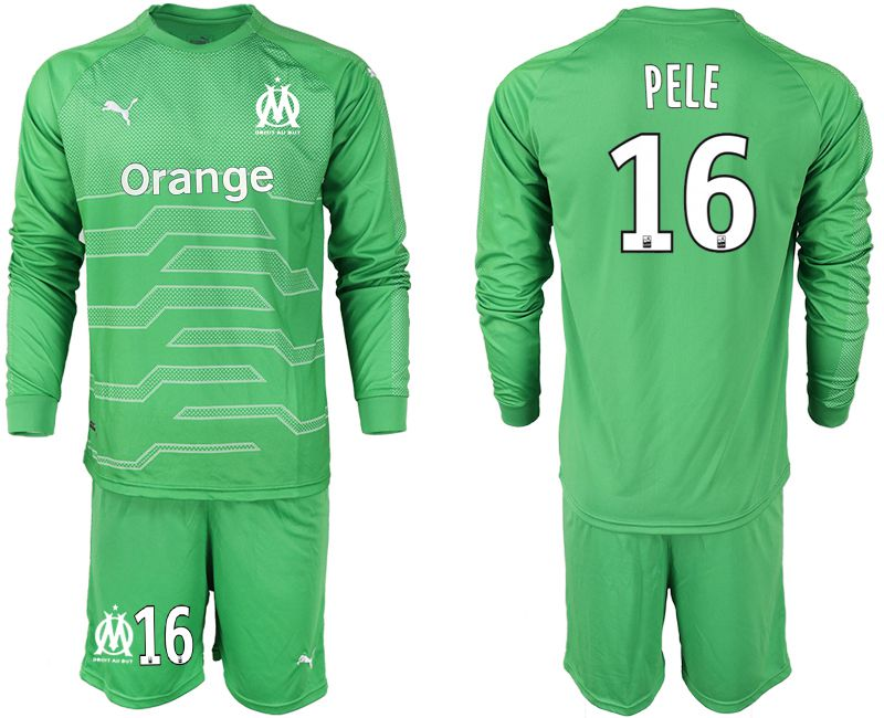 Men 2018-2019 club Olympique de Marseille green goalkeeper long sleeve 16 Soccer Jerseys