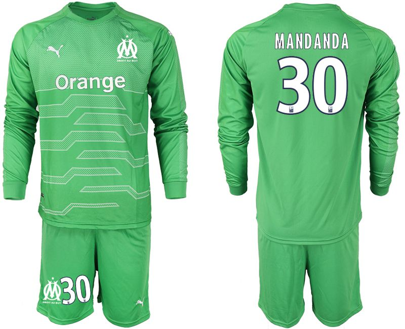 Men 2018-2019 club Olympique de Marseille green goalkeeper long sleeve 30 Soccer Jerseys