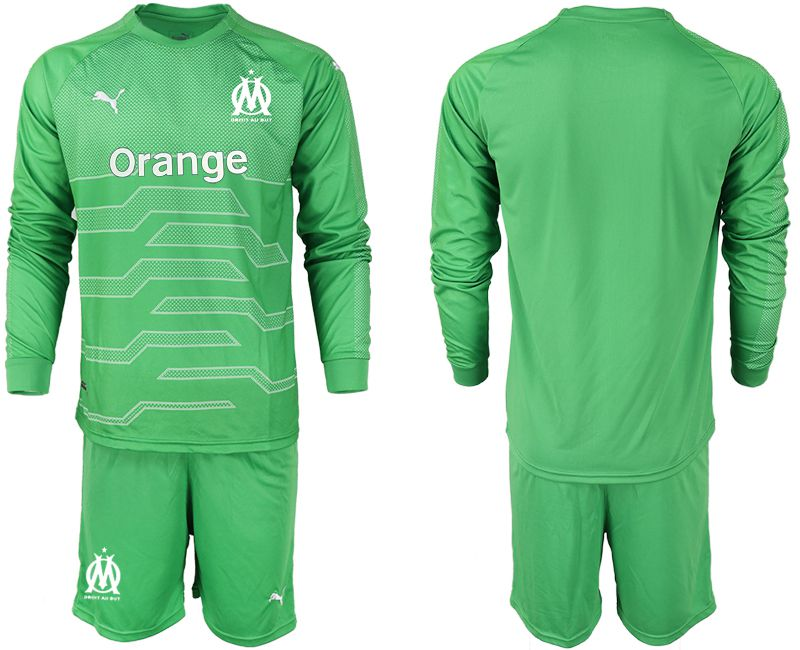 Men 2018-2019 club Olympique de Marseille green goalkeeper long sleeve Soccer Jerseys