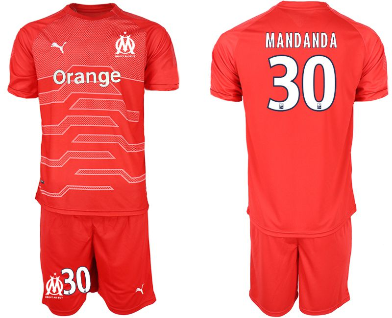 Men 2018-2019 club Olympique de Marseille red goalkeeper 30 Soccer Jerseys