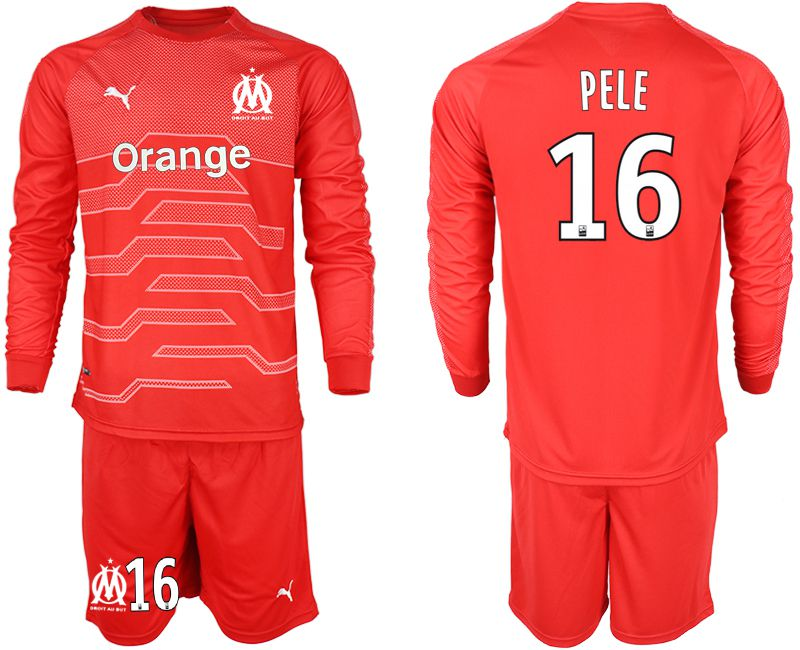 Men 2018-2019 club Olympique de Marseille red goalkeeper long sleeve 16 Soccer Jerseys