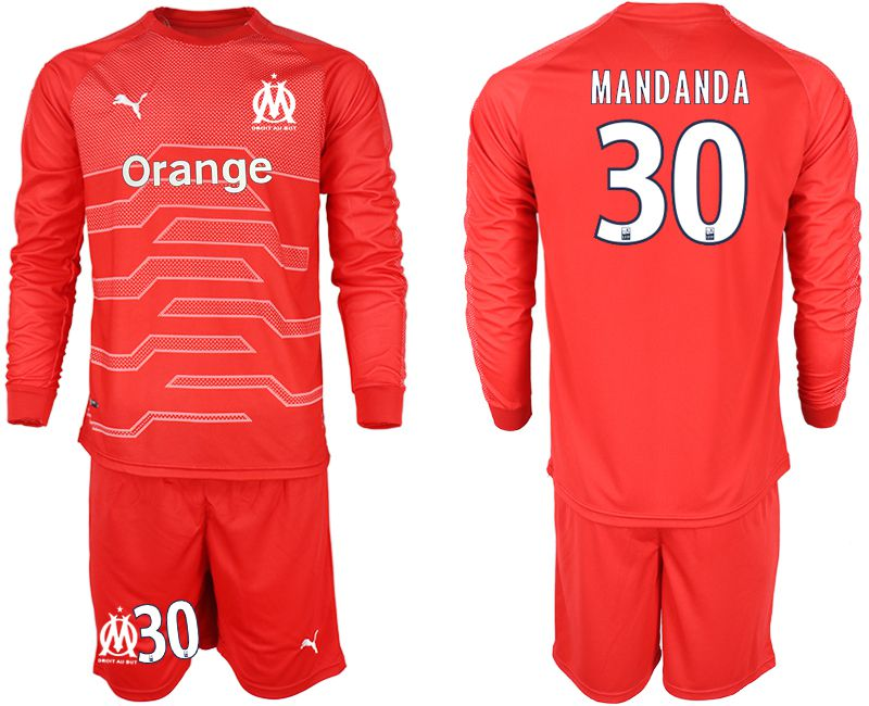 Men 2018-2019 club Olympique de Marseille red goalkeeper long sleeve 30 Soccer Jerseys