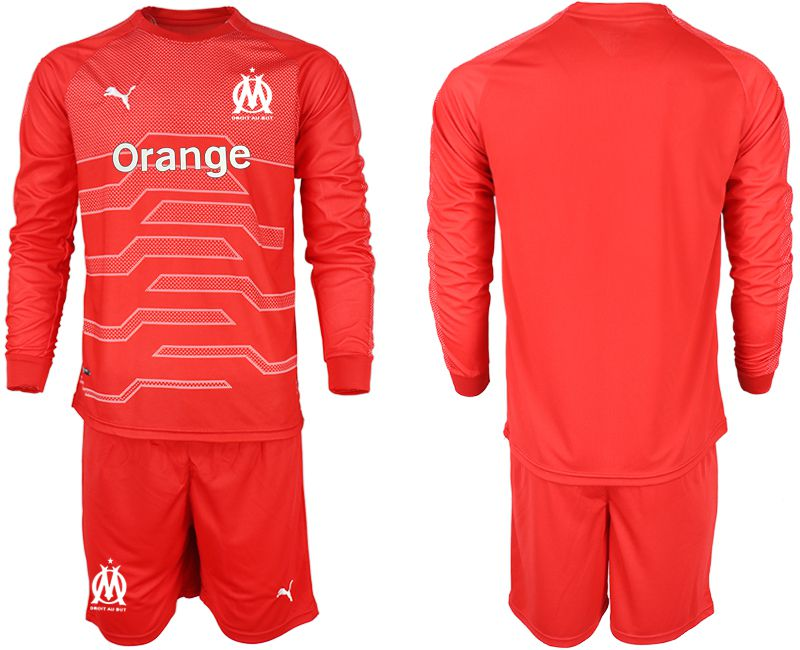 Men 2018-2019 club Olympique de Marseille red goalkeeper long sleeve Soccer Jerseys
