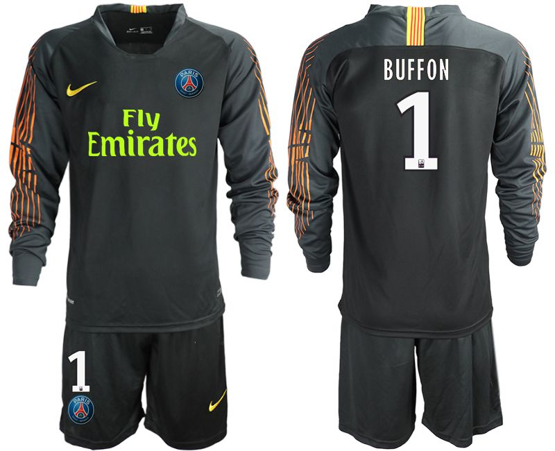 Men 2018-2019 club Paris St German black long sleeve goalkeeper 1 Soccer Jerseys