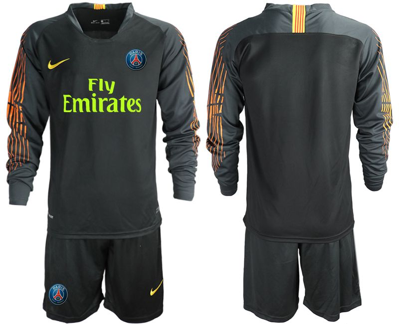 Men 2018-2019 club Paris St German black long sleeve goalkeeper Soccer Jerseys