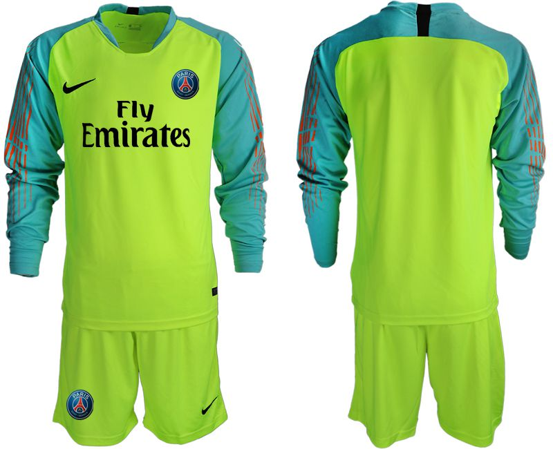 Men 2018-2019 club Paris St German fluorescent green long sleeve goalkeeper Soccer Jerseys