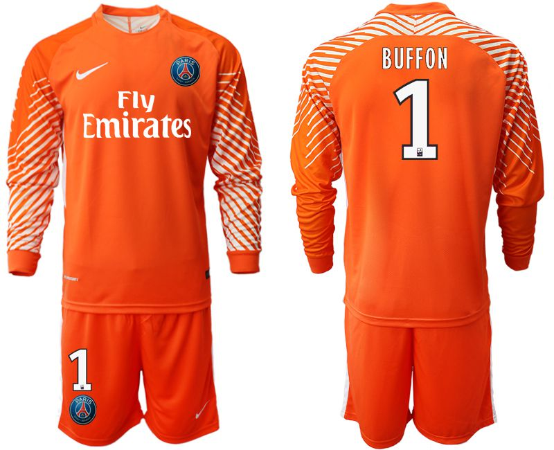 Men 2018-2019 club Paris St German orange goalkeeper long sleeve 1 Soccer Jerseys