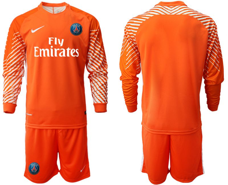 Men 2018-2019 club Paris St German orange goalkeeper long sleeve Soccer Jerseys