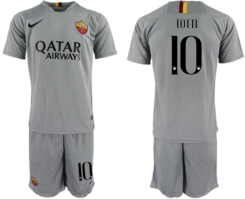 Men 2018-2019 club Rome away 10 grey Soccer Jerseys