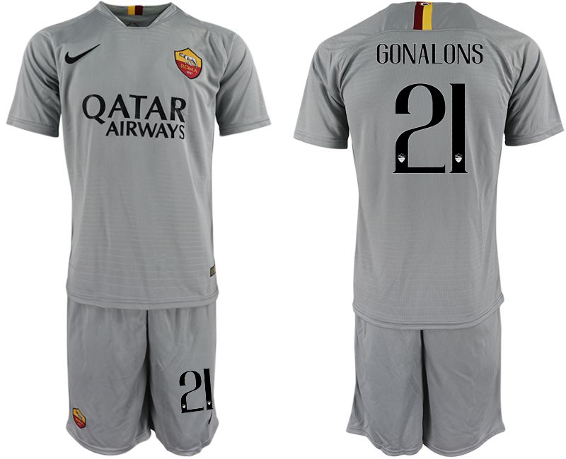 Men 2018-2019 club Rome away 21 grey Soccer Jerseys