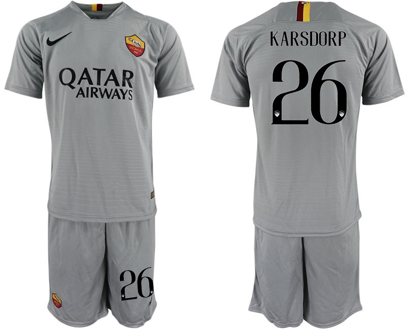 Men 2018-2019 club Rome away 26 grey Soccer Jerseys