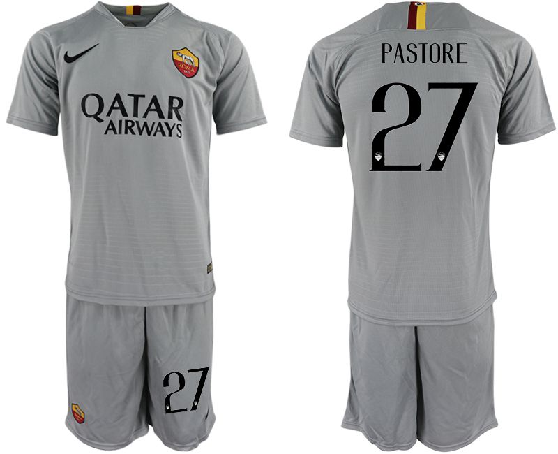 Men 2018-2019 club Rome away 27 grey Soccer Jerseys