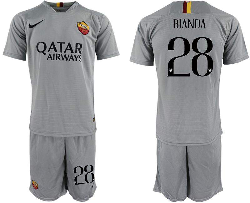Men 2018-2019 club Rome away 28 grey Soccer Jerseys
