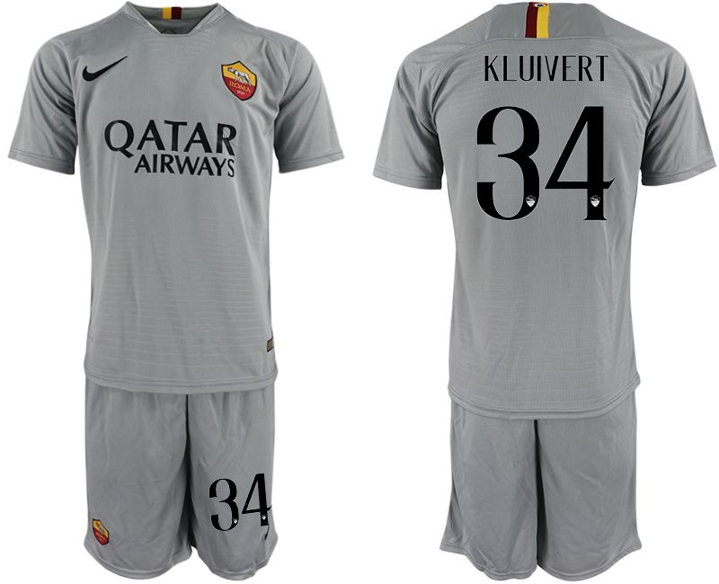 Men 2018-2019 club Rome away 34 grey Soccer Jerseys