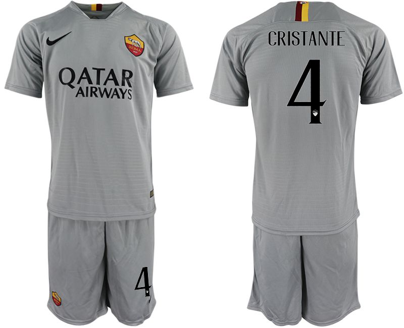 Men 2018-2019 club Rome away 4 grey Soccer Jerseys
