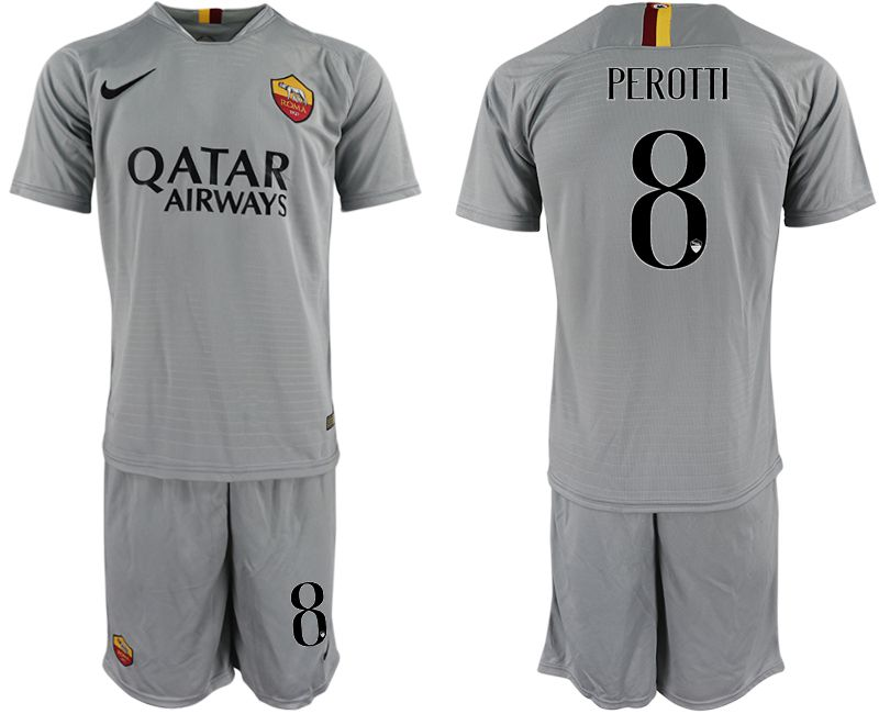 Men 2018-2019 club Rome away 8 grey Soccer Jerseys