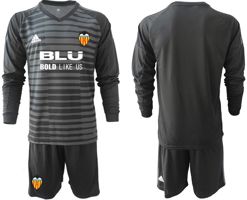 Men 2018-2019 club Valencia black long sleeve goalkeeper Soccer Jerseys