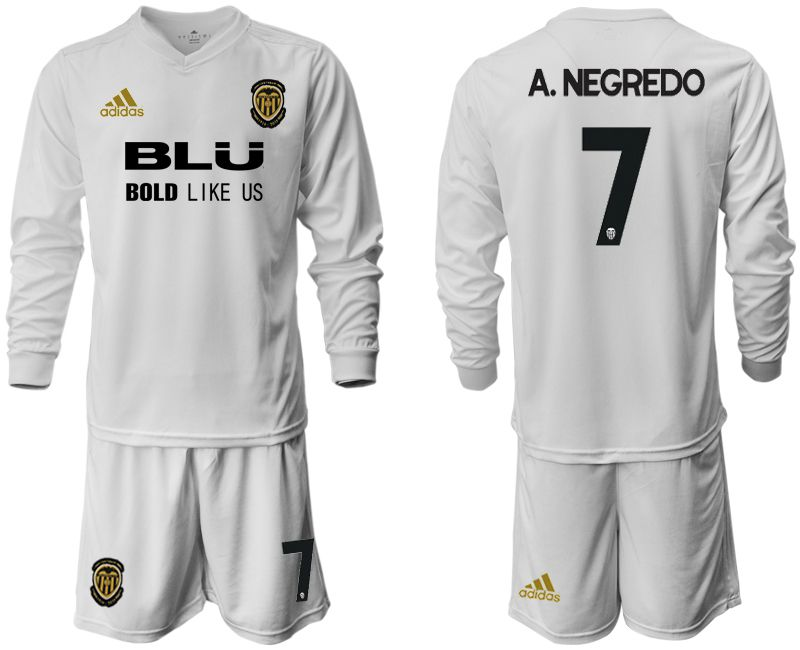 Men 2018-2019 club Valencia CF home long sleeve 7 white Soccer Jerseys