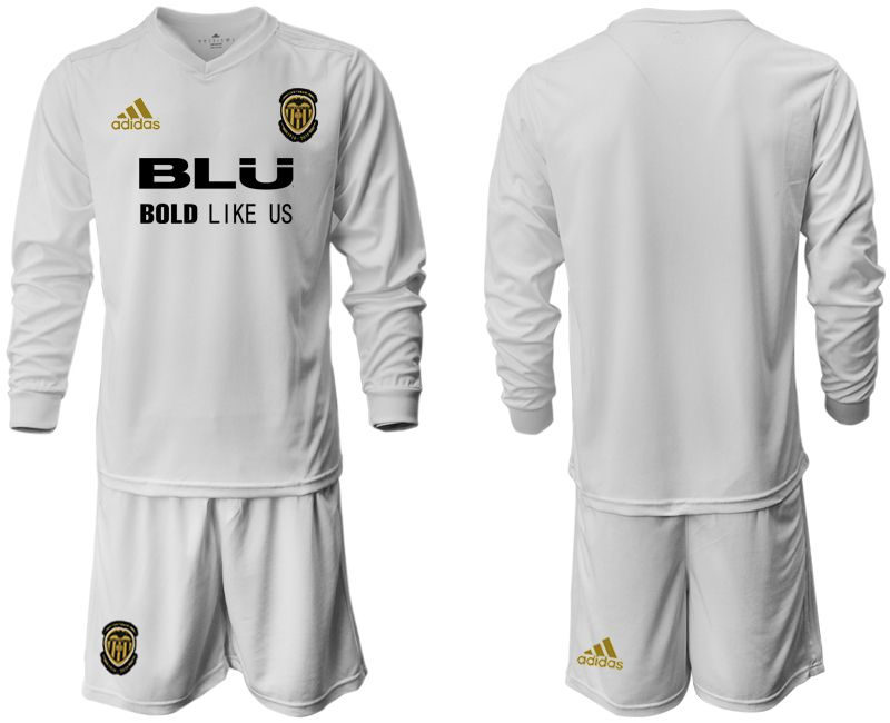 Men 2018-2019 club Valencia CF home long sleeve white Soccer Jerseys