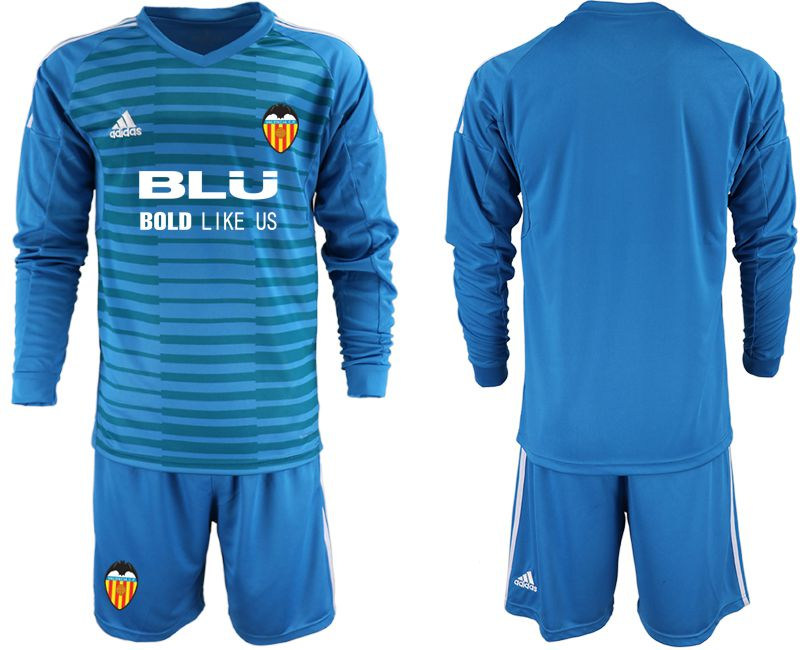 Men 2018-2019 club Valencia blue goalkeeper Long sleeve Soccer Jerseys