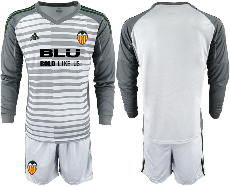 Men 2018-2019 club Valencia gray long sleeve goalkeeper Soccer Jerseys