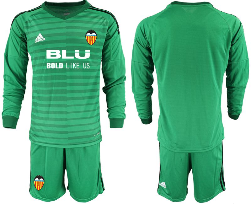Men 2018-2019 club Valencia green long sleeve goalkeeper Soccer Jerseys