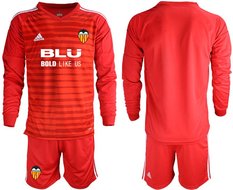 Men 2018-2019 club Valencia red long sleeve goalkeeper Soccer Jerseys