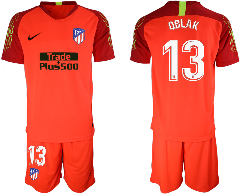 Men 2018_2019 Club Atletico Madrid red goalkeeper 13 soccer jerseys